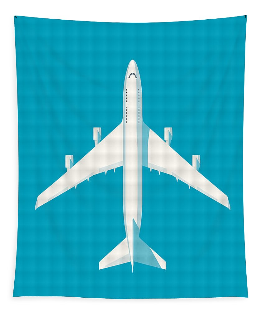 Airplane Tapestry featuring the digital art 747 Jumbo Jet Airliner Aircraft - Cyan by Organic Synthesis