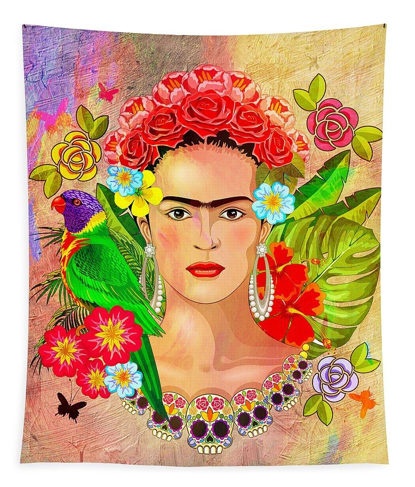 Friday Kahlua Tapestry featuring the digital art Frida Kahlo by Mark Ashkenazi