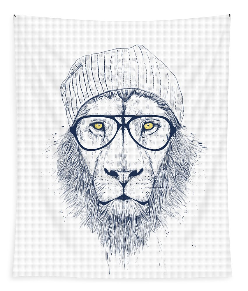 Lion Tapestry featuring the drawing Cool lion by Balazs Solti