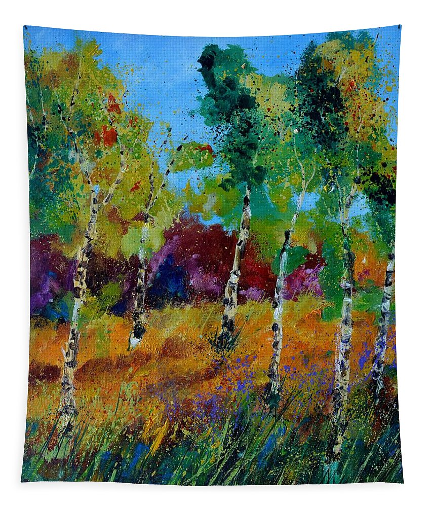 Landscape Tapestry featuring the painting Aspen trees in autumn by Pol Ledent