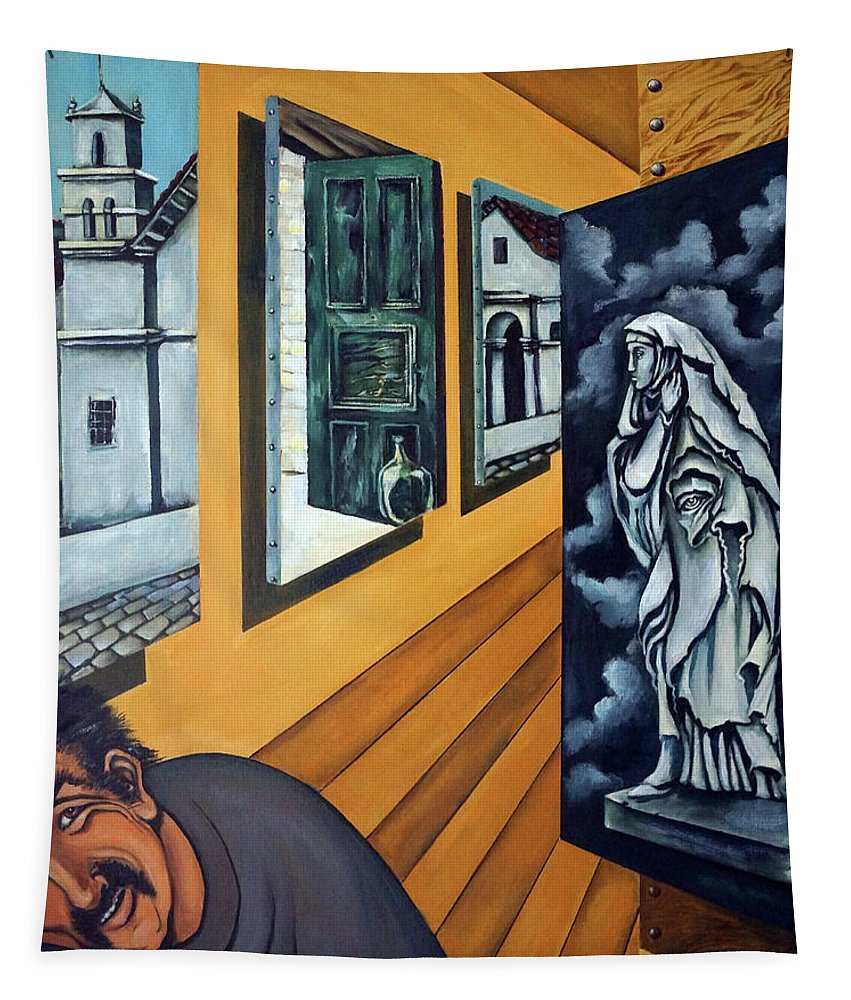 Surreal Tapestry featuring the painting Asylum by Valerie Vescovi