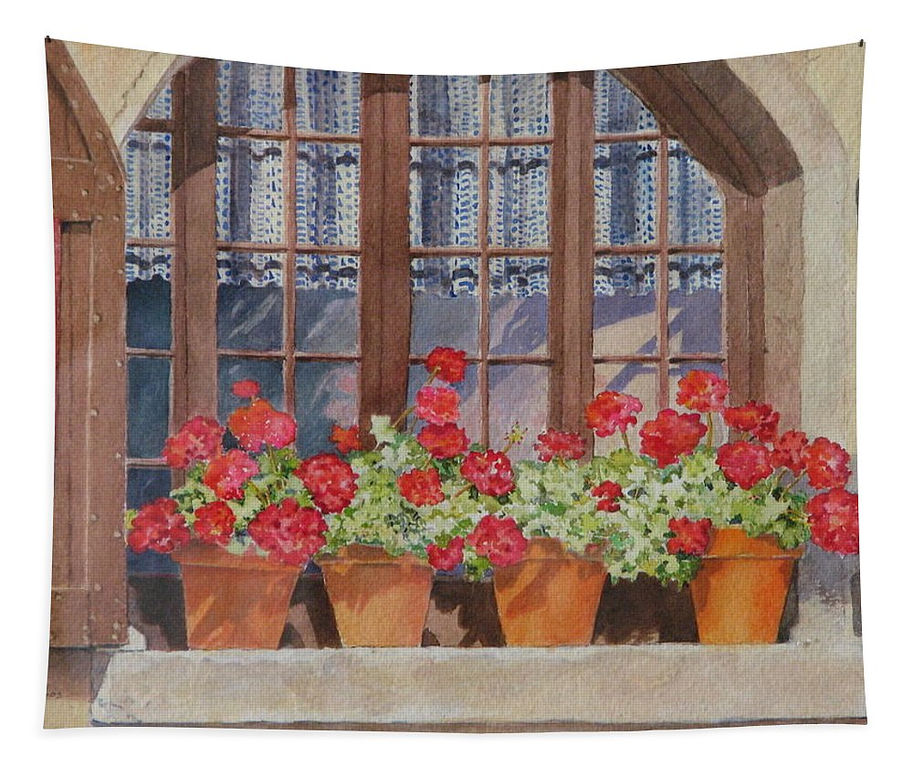 Watercolor Tapestry featuring the painting August at the Auberge by Mary Ellen Mueller Legault