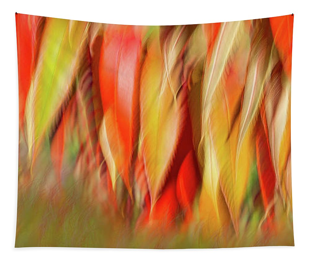 Tapestry featuring the photograph Autumns Feathers of Fire by Marilyn Cornwell