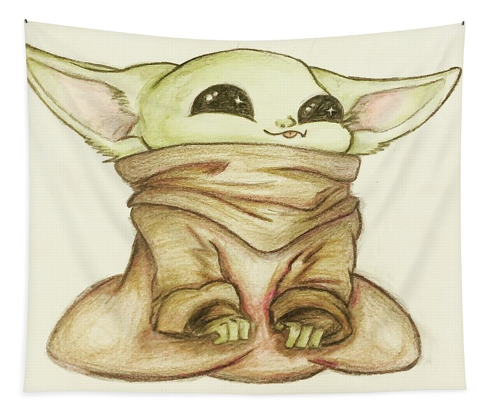 Baby Tapestry featuring the drawing Baby Yoda by Tejay Nichols