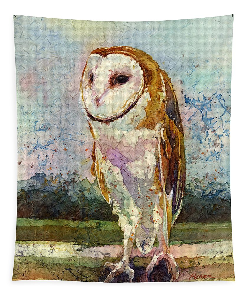 Owl Tapestry featuring the painting Barn Owl by Hailey E Herrera