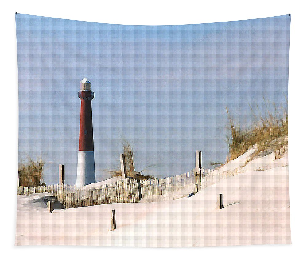 Barnegat Tapestry featuring the photograph Barnegat Lighthouse by Steve Karol