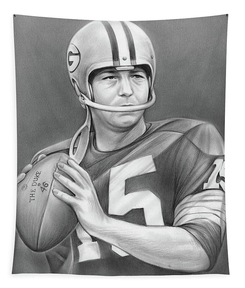Bart Starr Tapestry featuring the drawing Bart Starr - Pencil by Greg Joens