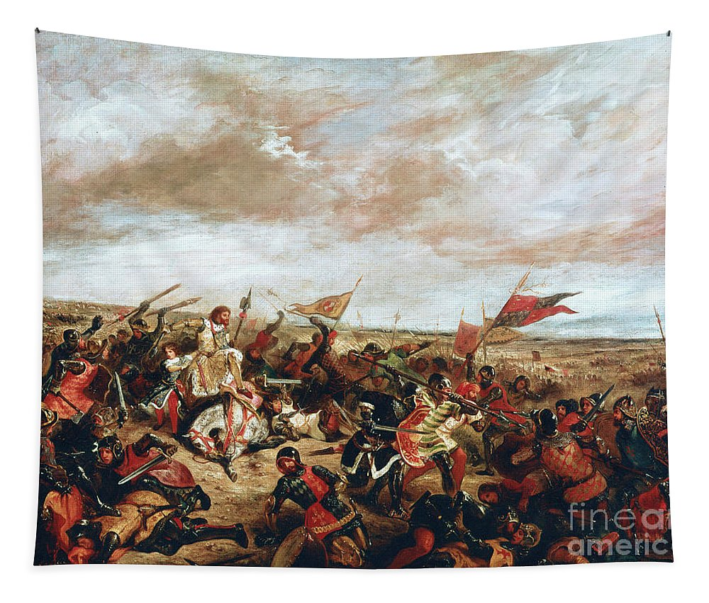Poitiers Tapestry featuring the painting Battle of Poitiers on September 19, 1356 by Ferdinand Victor Eugene Delacroix