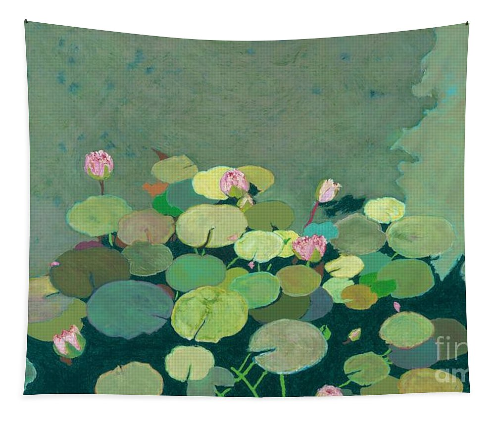 Landscape Tapestry featuring the painting Bettys Serenity Pond by Allan P Friedlander