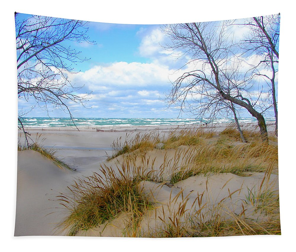 Trees Tapestry featuring the photograph Big Waves on Lake Michigan by Michelle Calkins
