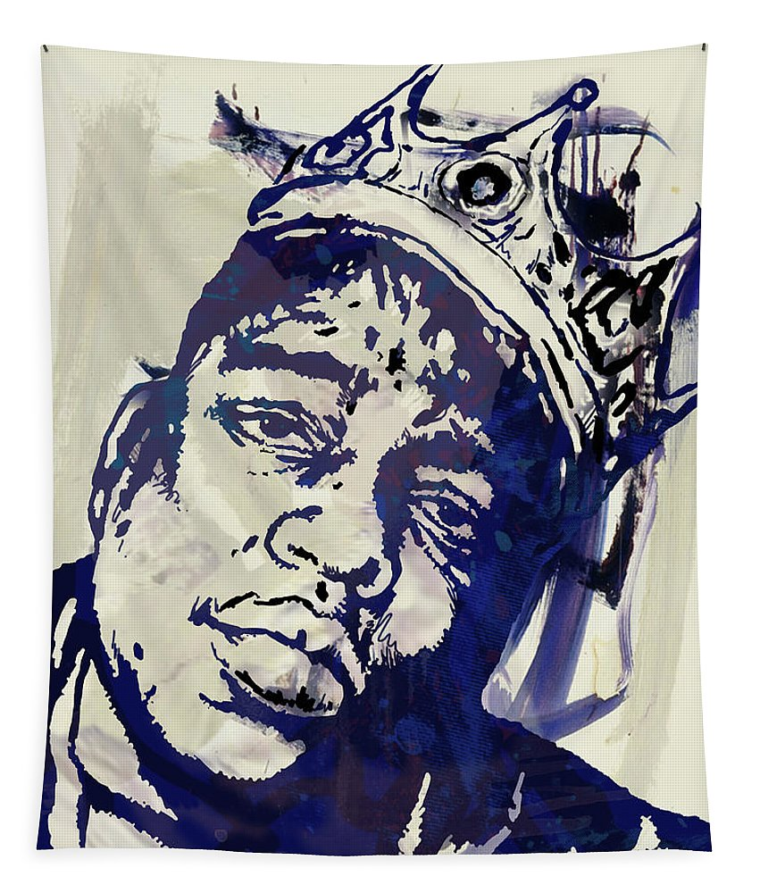 Biggie Smalls Colour Drawing Art Poster - Pop Art Tapestry featuring the mixed media Biggie smalls Modern art poster by Kim Wang