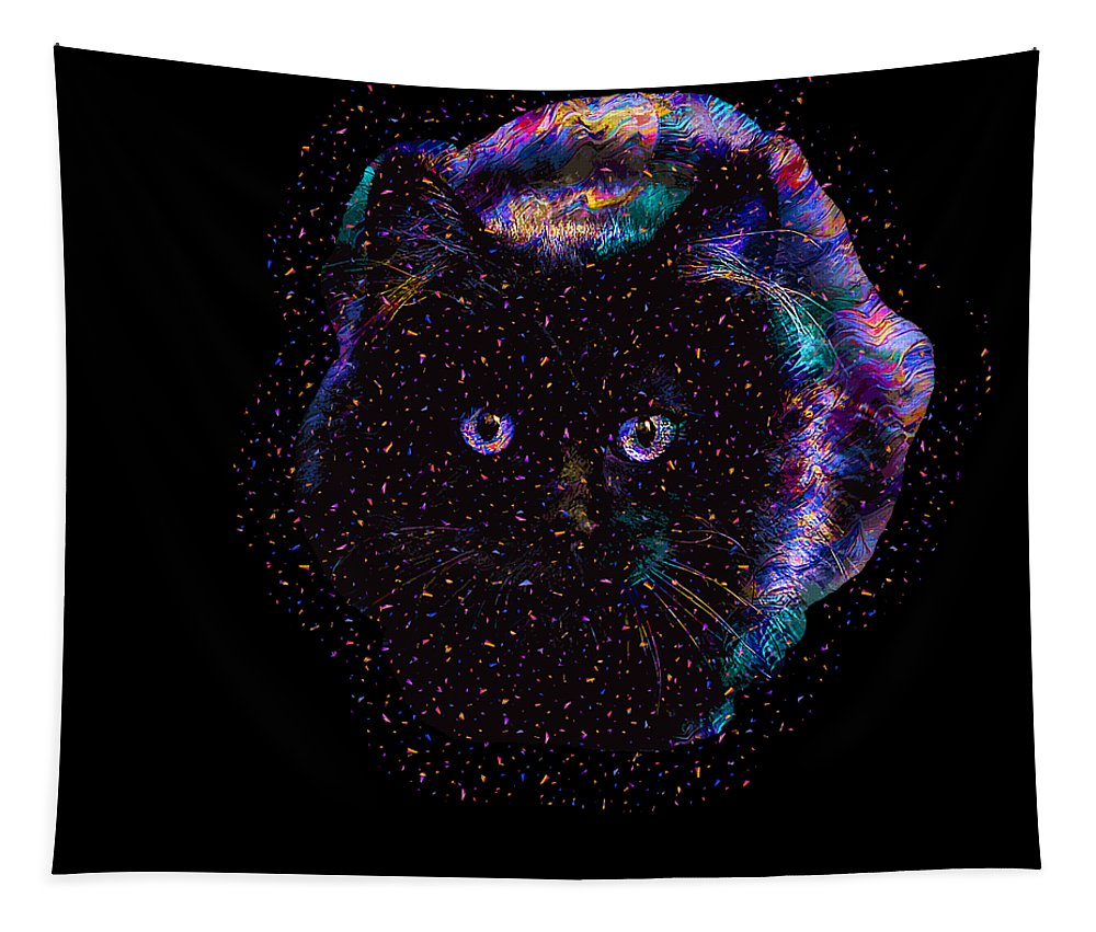 Cat Tapestry featuring the digital art Black Abstract Cat by Trindira A