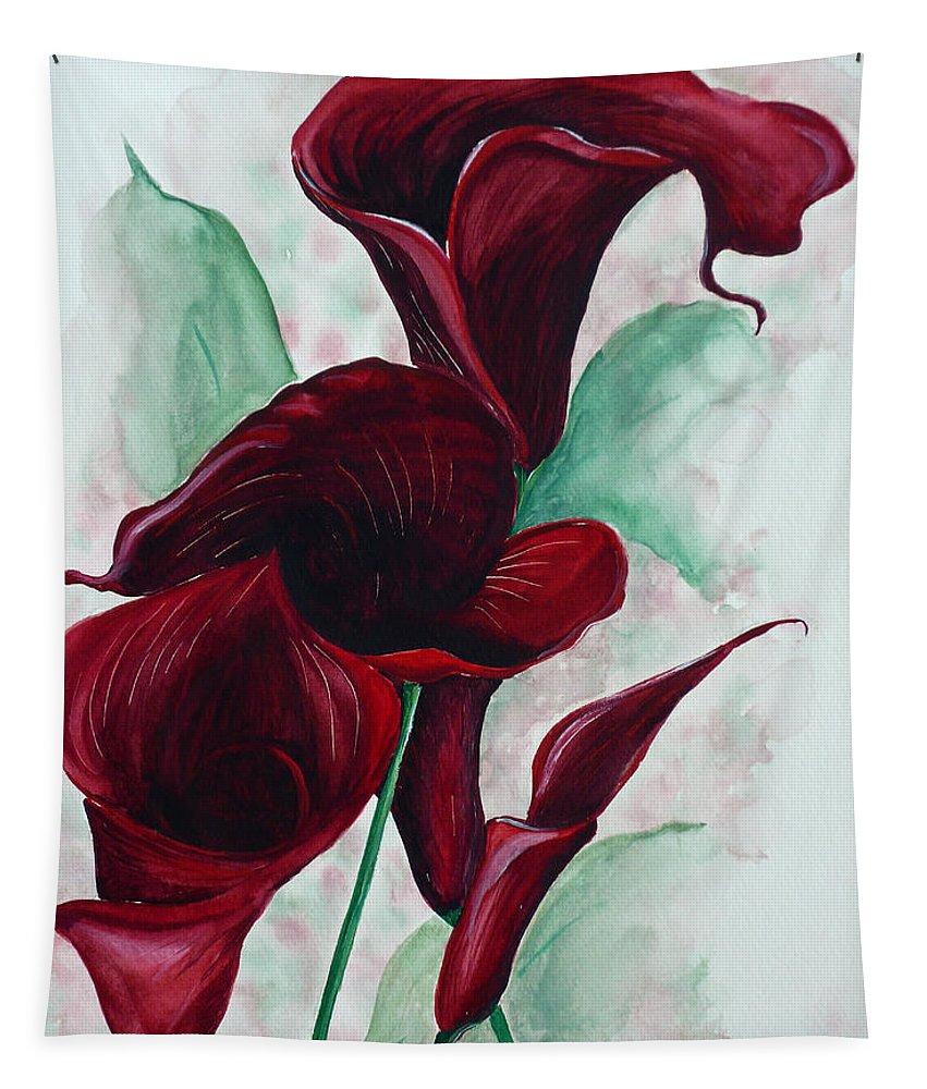 Flower Painting Floral Painting Botanical Painting Tropical Painting Caribbean Painting Calla Painting Red Lily Painting Deep Red Calla Lilies Original Watercolor Painting Tapestry featuring the painting Black Callas by Karin Dawn Kelshall- Best