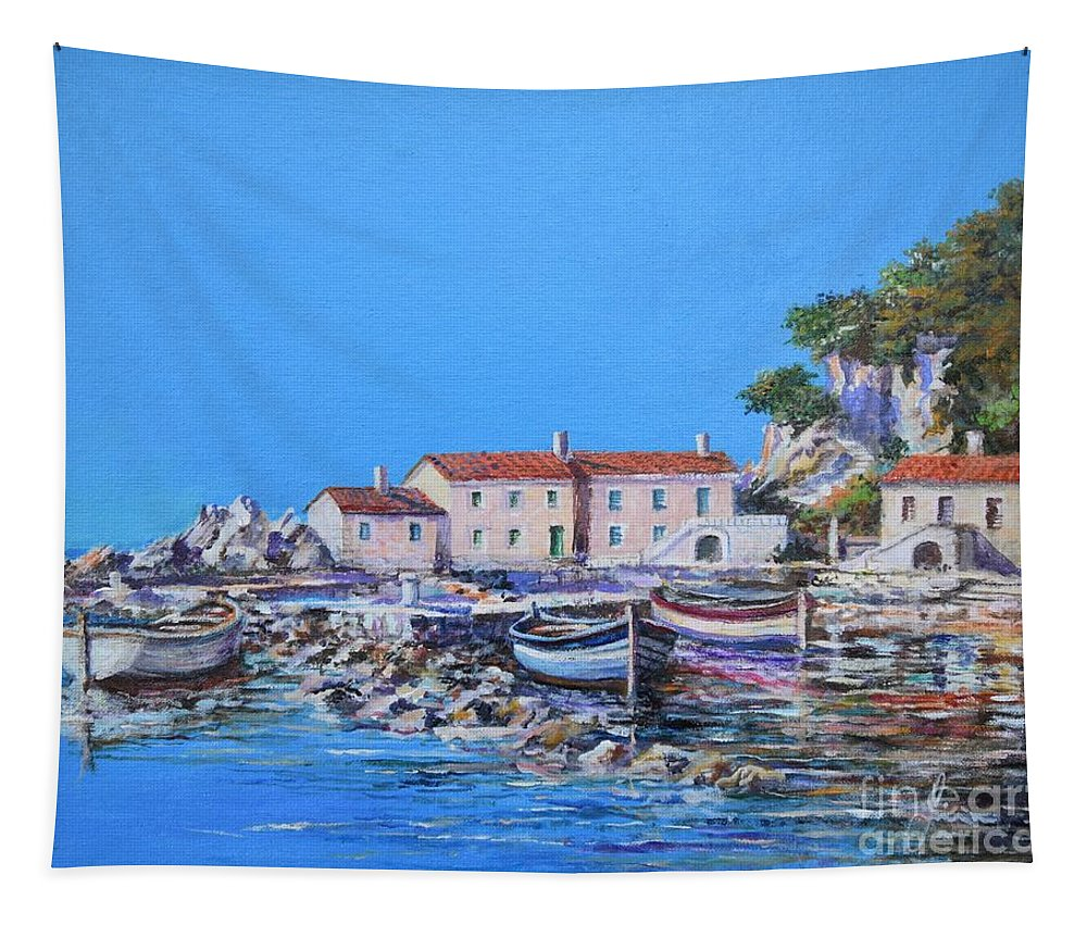 Original Painting Tapestry featuring the painting Blue Bay by Sinisa Saratlic