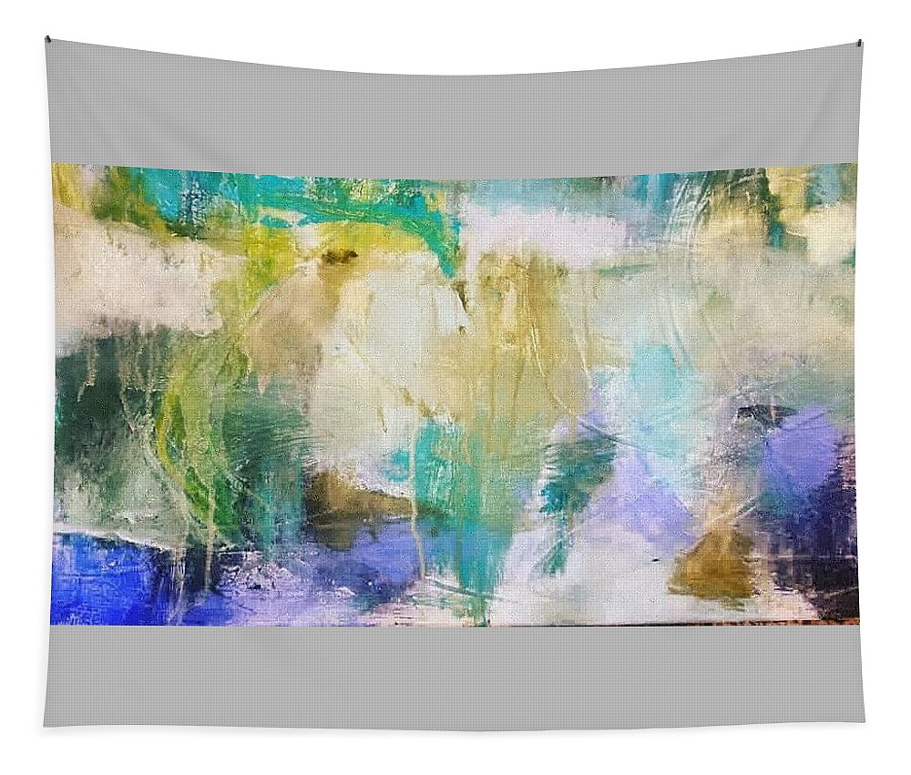 Abstract Tapestry featuring the painting Blue, White, Gold by Patricia Byron