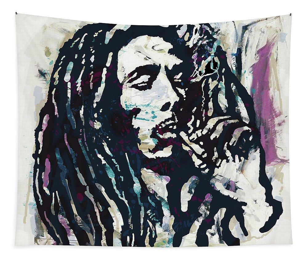 Bob Marley Art Drawing Sketch Portrait Tapestry featuring the mixed media Bob Marley pop poser by Kim Wang