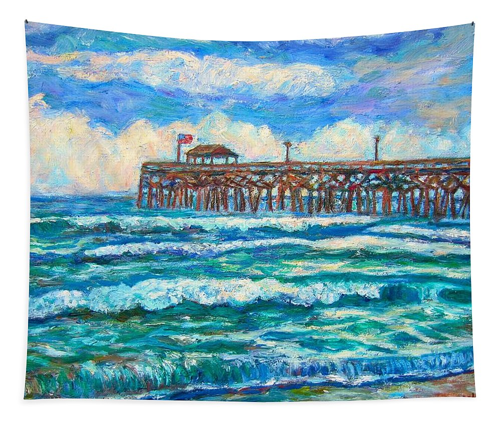 Shore Scenes Tapestry featuring the painting Breakers at Pawleys Island by Kendall Kessler