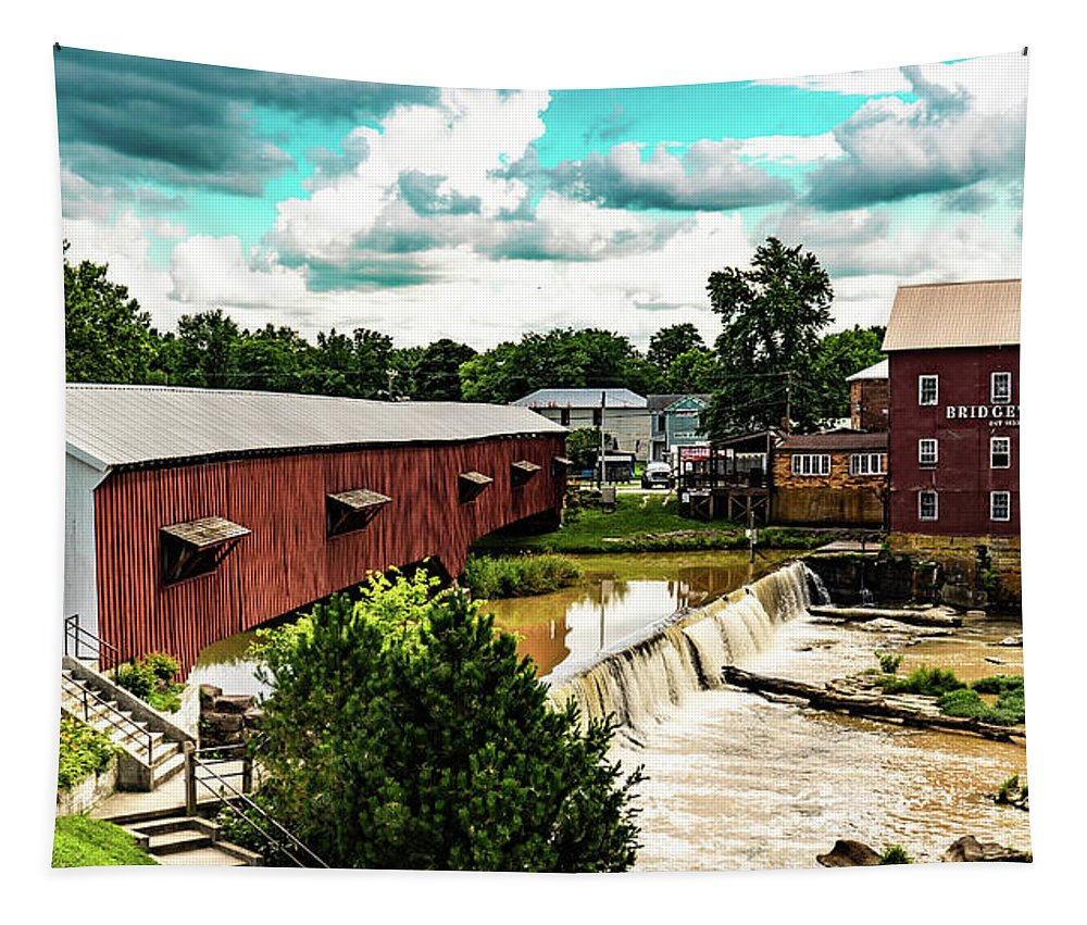 Covered Bridge Tapestry featuring the photograph Bridgeton Mill and Covered Bridge by Scott Smith