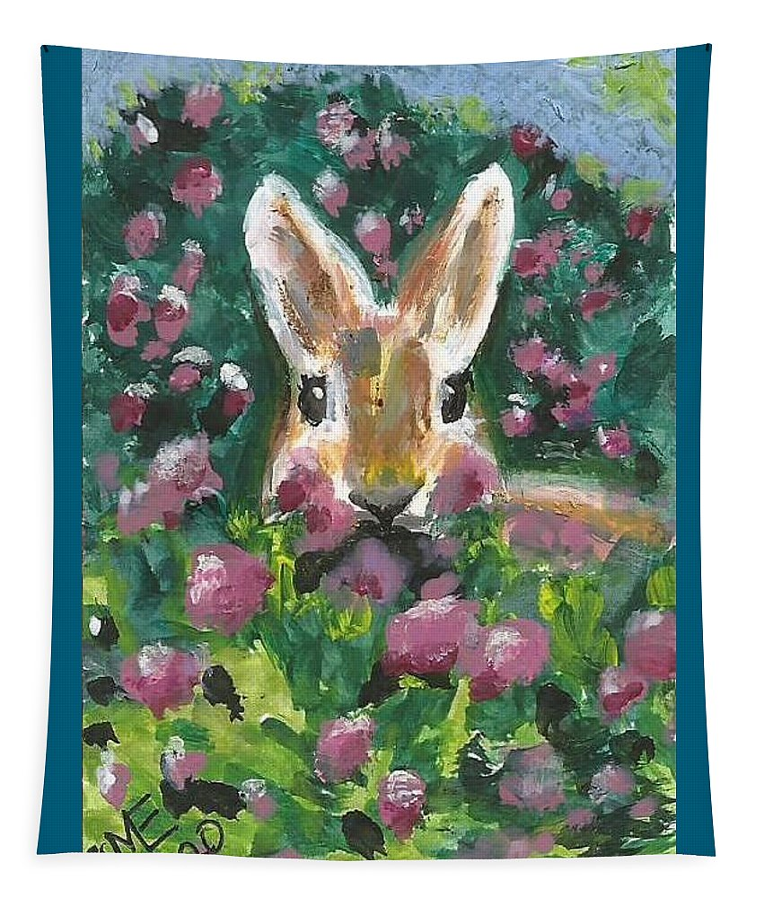 Bunny Painting Tapestry featuring the painting Bunny by Monica Resinger