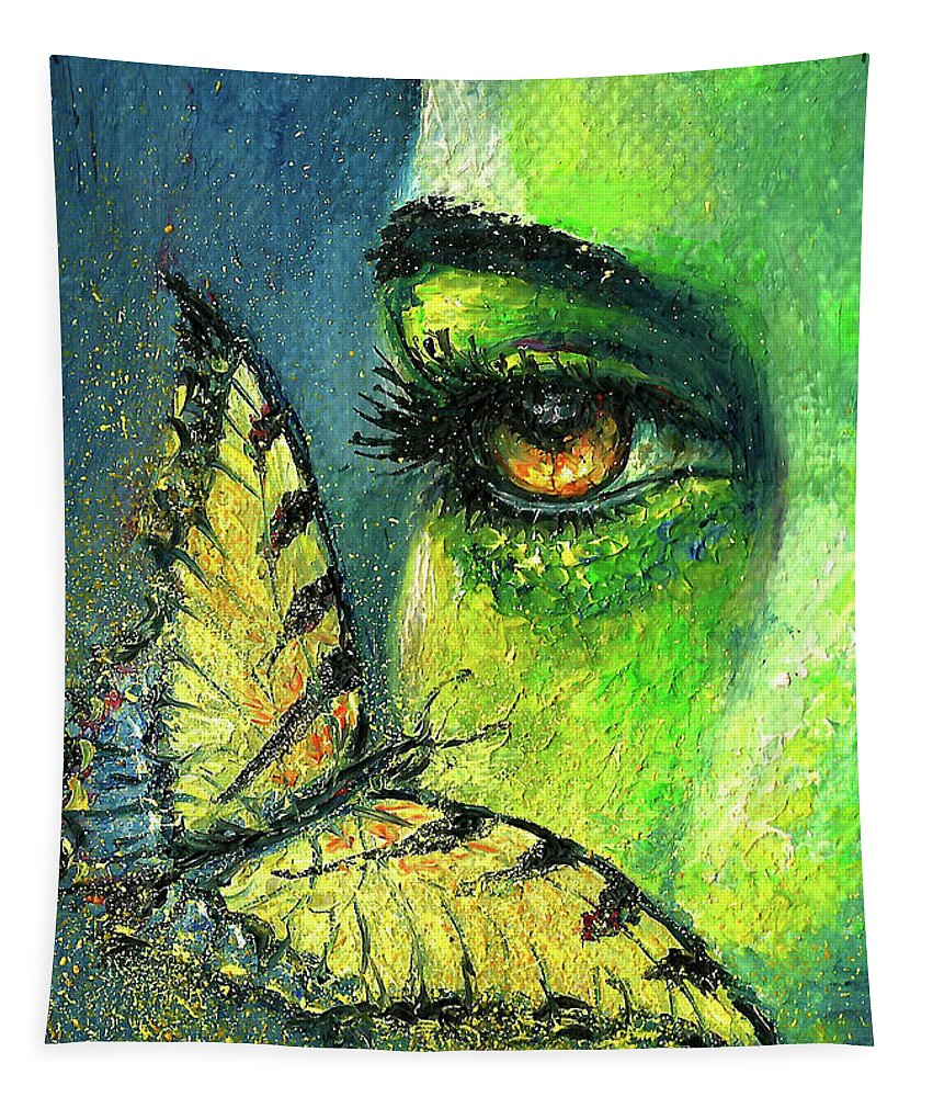 Woman Face Tapestry featuring the painting Butterfly Fantasy by Natalja Picugina