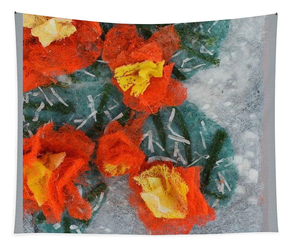 Dryer Sheets Tapestry featuring the mixed media Cactus Flowers by Charla Van Vlack