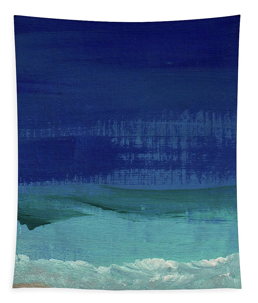 Abstract Art Tapestry featuring the painting Calm Waters- Abstract Landscape Painting by Linda Woods