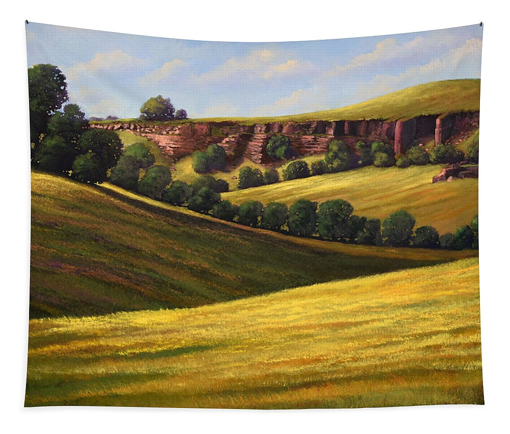Landscape Tapestry featuring the painting Canyon Oaks by Frank Wilson