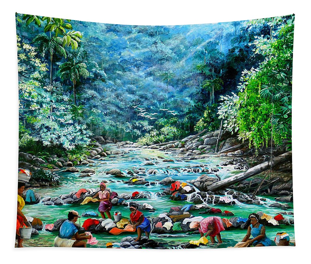 Land Scape Painting River Painting Mountain Painting Rain Forest Painting Washerwomen Painting Laundry Painting Caribbean Painting Tropical Painting Village Washer Women At A Mountain River In Trinidad And Tobago Tapestry featuring the painting Caribbean Wash Day by Karin Dawn Kelshall- Best
