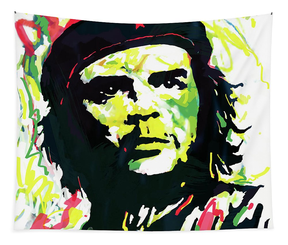 Che Guevara Stylised Modern Drawing Art Sketch.  Bstract Painting Tapestry featuring the mixed media Che Guevara pop art poster by Kim Wang