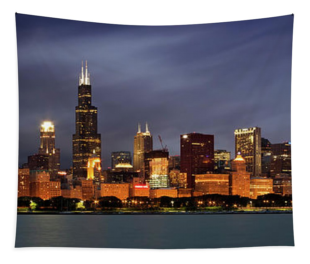 3scape Tapestry featuring the photograph Chicago Skyline at Night Color Panoramic by Adam Romanowicz