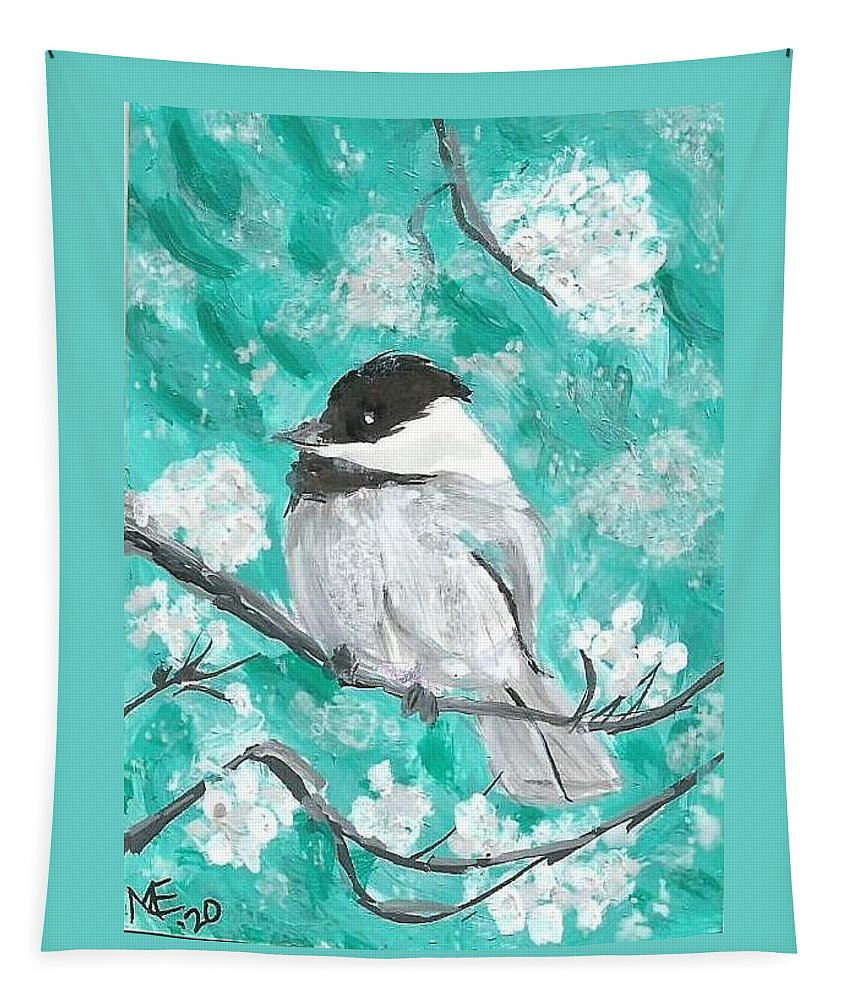 Chickadee Painting Tapestry featuring the painting Chickadee by Monica Resinger