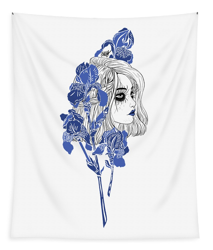 Digital Art Tapestry featuring the digital art China girl by Elly Provolo