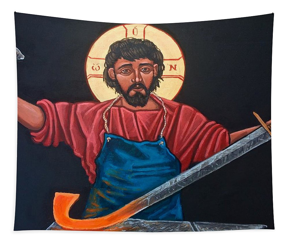 Iconography Tapestry featuring the painting Christ Swords into Plowshares by Kelly Latimore