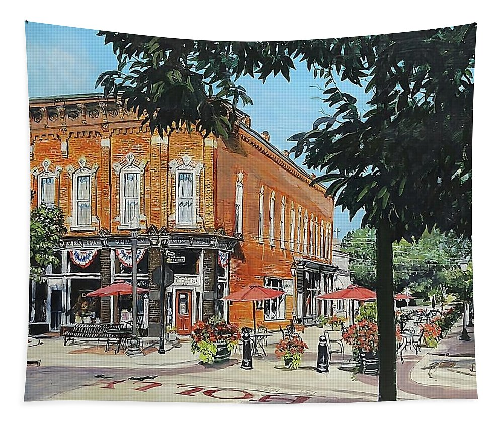 Holly Michigan Tapestry featuring the painting Coffee On The Corner by William Brody