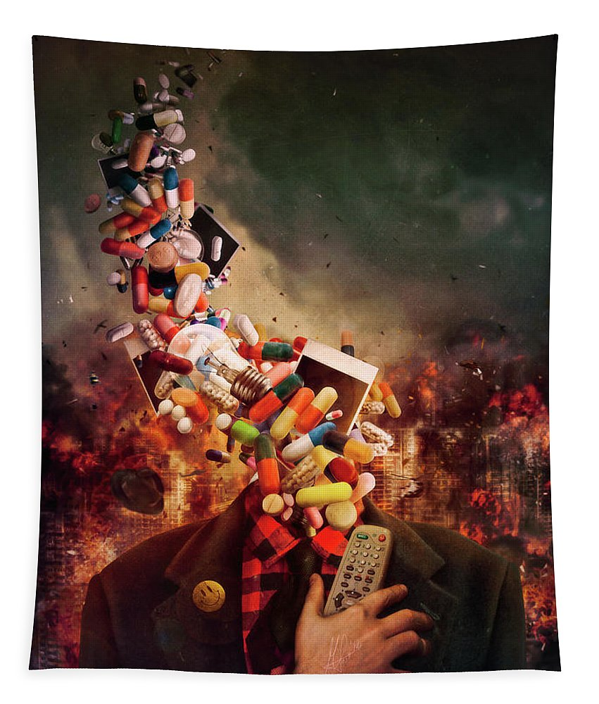 Surreal Tapestry featuring the digital art Comfortably Numb by Mario Sanchez Nevado