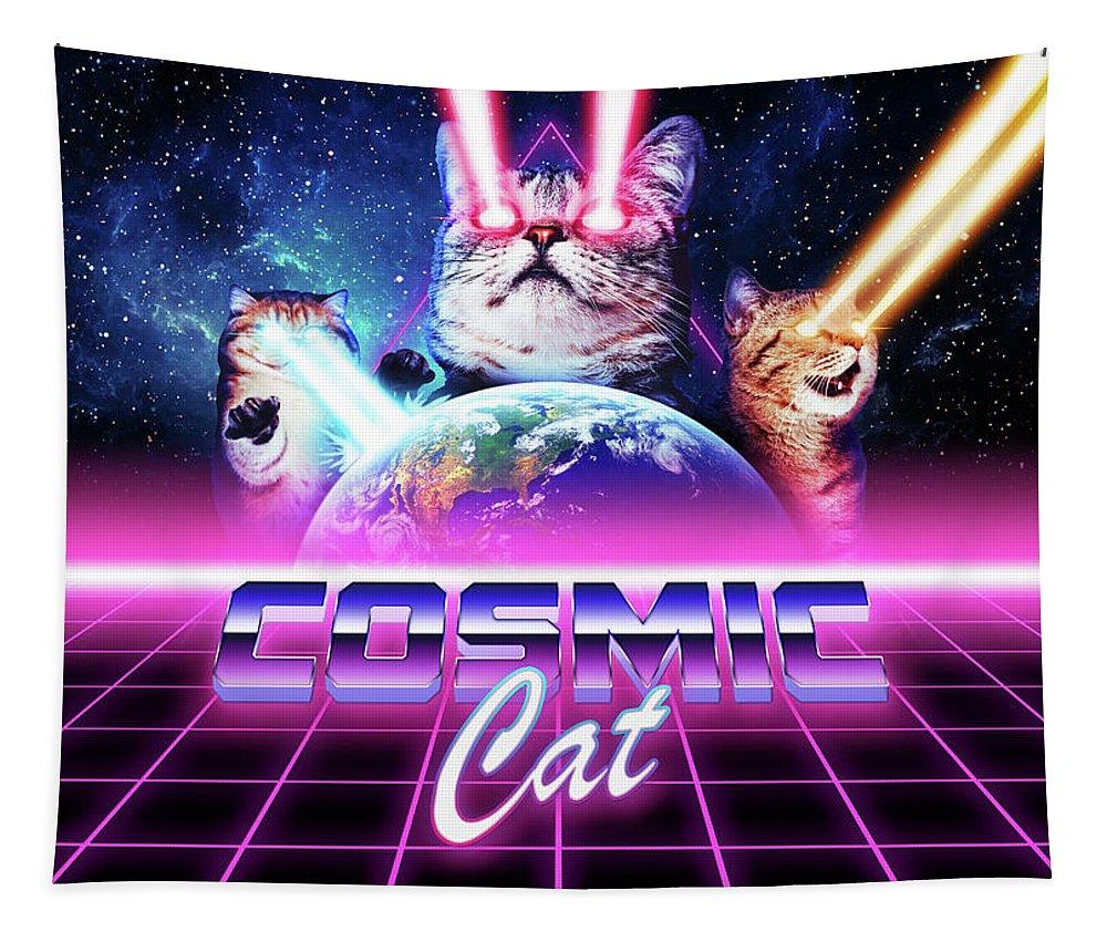 Cat Tapestry featuring the digital art Cosmic cat by Alex Goljakov