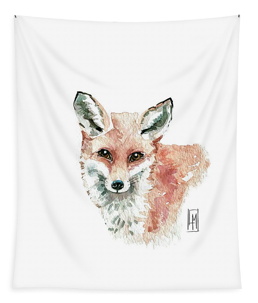 Fox Tapestry featuring the painting Cute Red Fox by Luisa Millicent