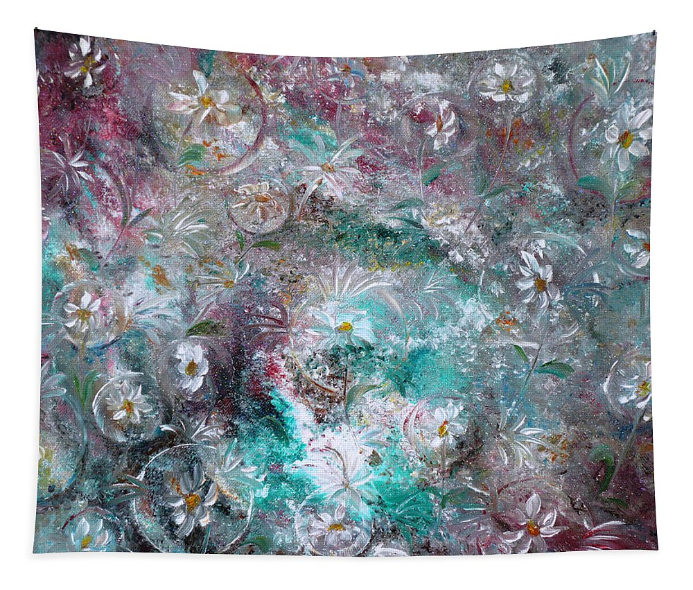 Original Flower Abstract Painting Tapestry featuring the painting Daisy Dreamz by Karin Dawn Kelshall- Best