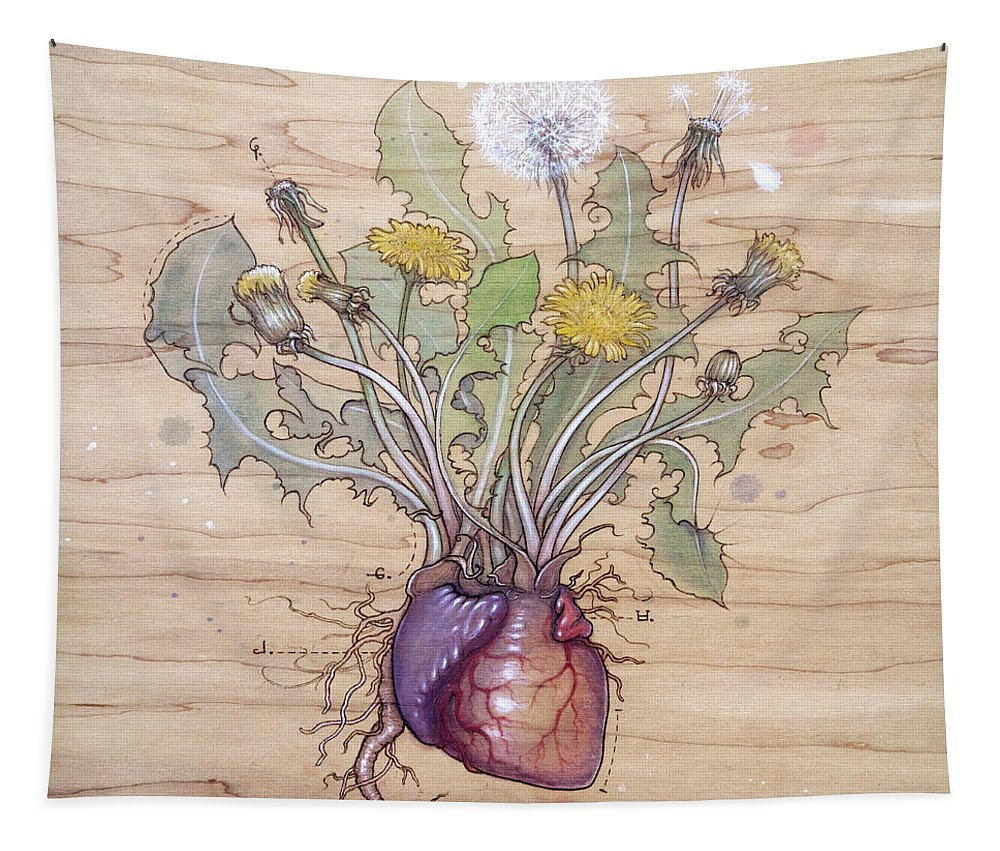 Dandelion Tapestry featuring the pyrography Dandelion Heart by Fay Helfer