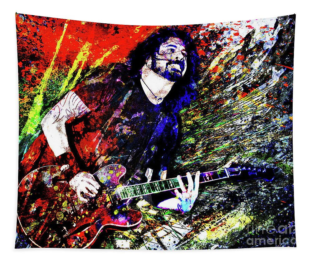 Dave Grohl Tapestry featuring the mixed media Dave Grohl Art by Ryan Rock Artist