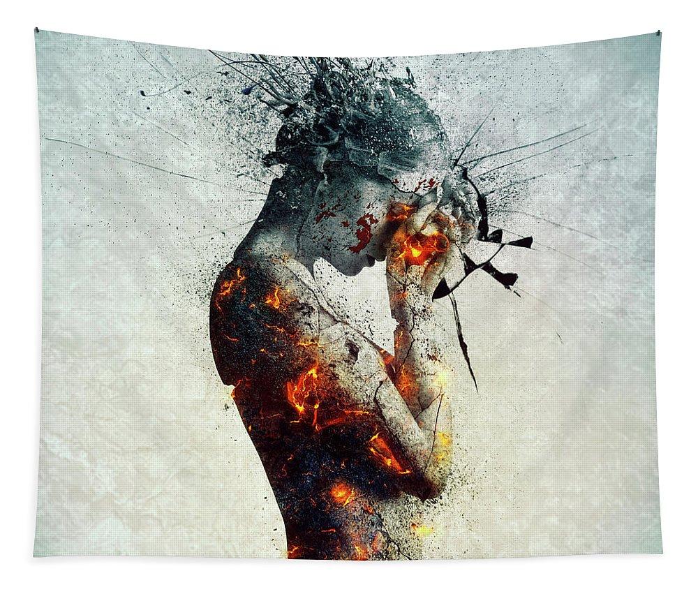 Deliberation Tapestry featuring the digital art Deliberation by Mario Sanchez Nevado