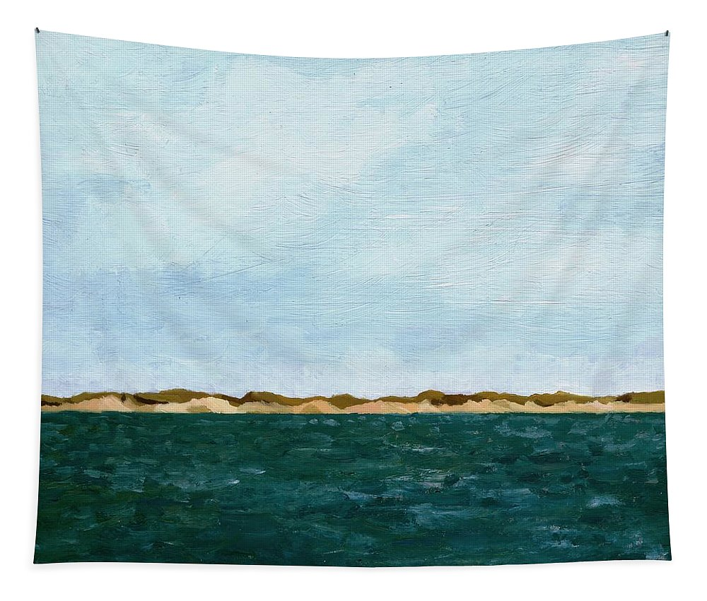 Lake Tapestry featuring the painting Dunes of Lake Michigan with Big Sky by Michelle Calkins