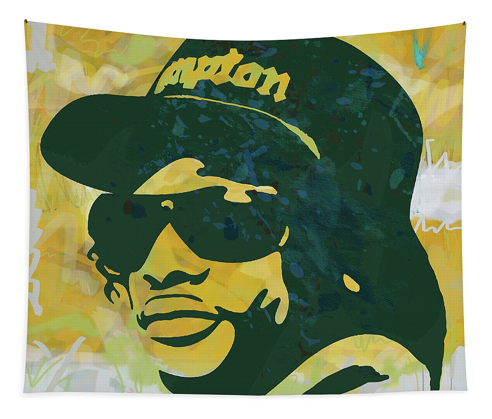 Eazy-e Art Drawing Sketch Poster Tapestry featuring the mixed media Eazy-E pop art poster by Kim Wang