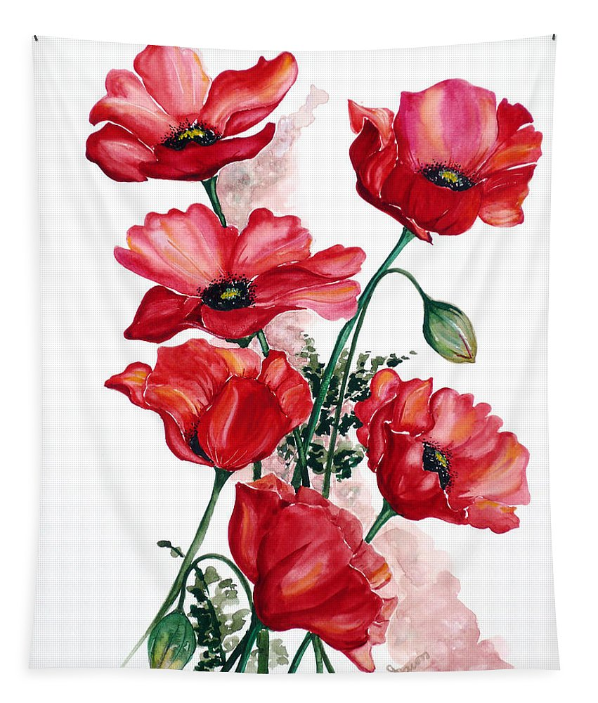 Original Watercolor Of English Field Poppies Painted On Arches Watercolor Paper Tapestry featuring the painting English Field Poppies. by Karin Dawn Kelshall- Best