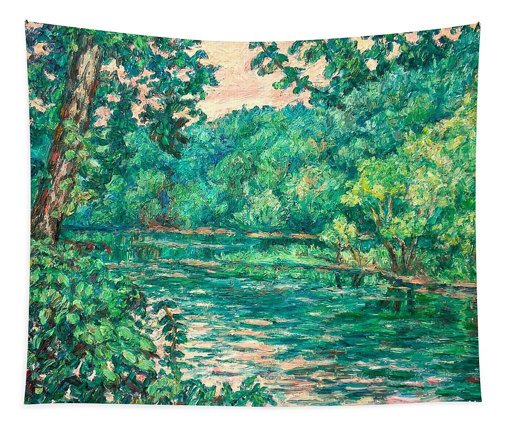 Landscape Tapestry featuring the painting Evening River Motion by Kendall Kessler