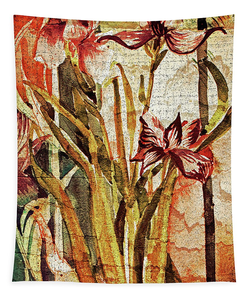 Fall Tapestry featuring the painting Fall Day Lilies by Mindy Newman