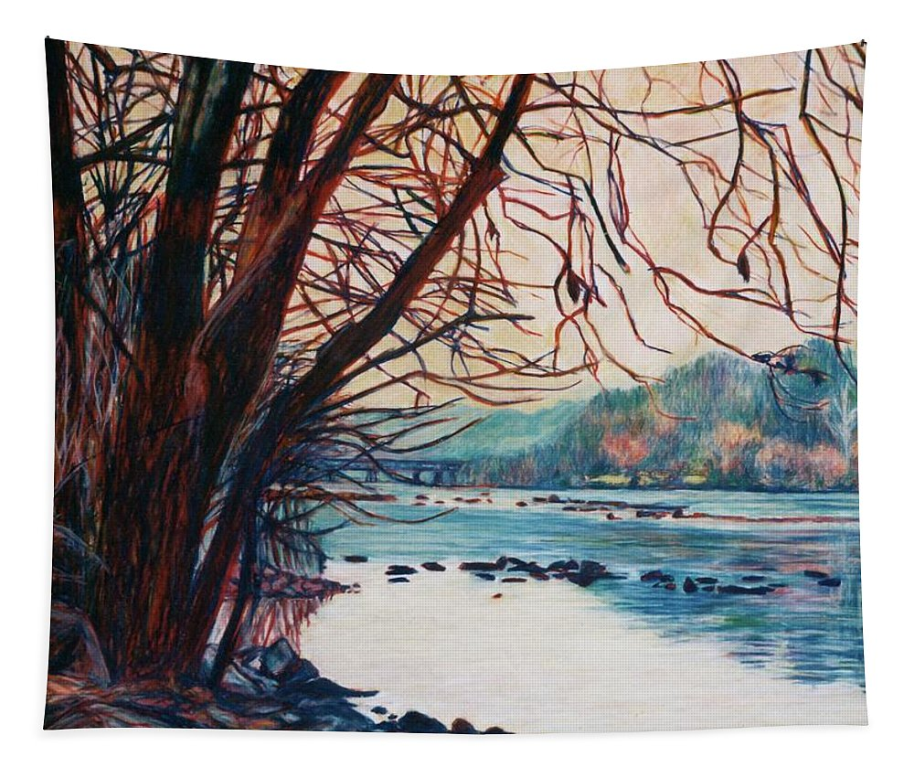 New River Tapestry featuring the pastel Fall on the New River by Kendall Kessler