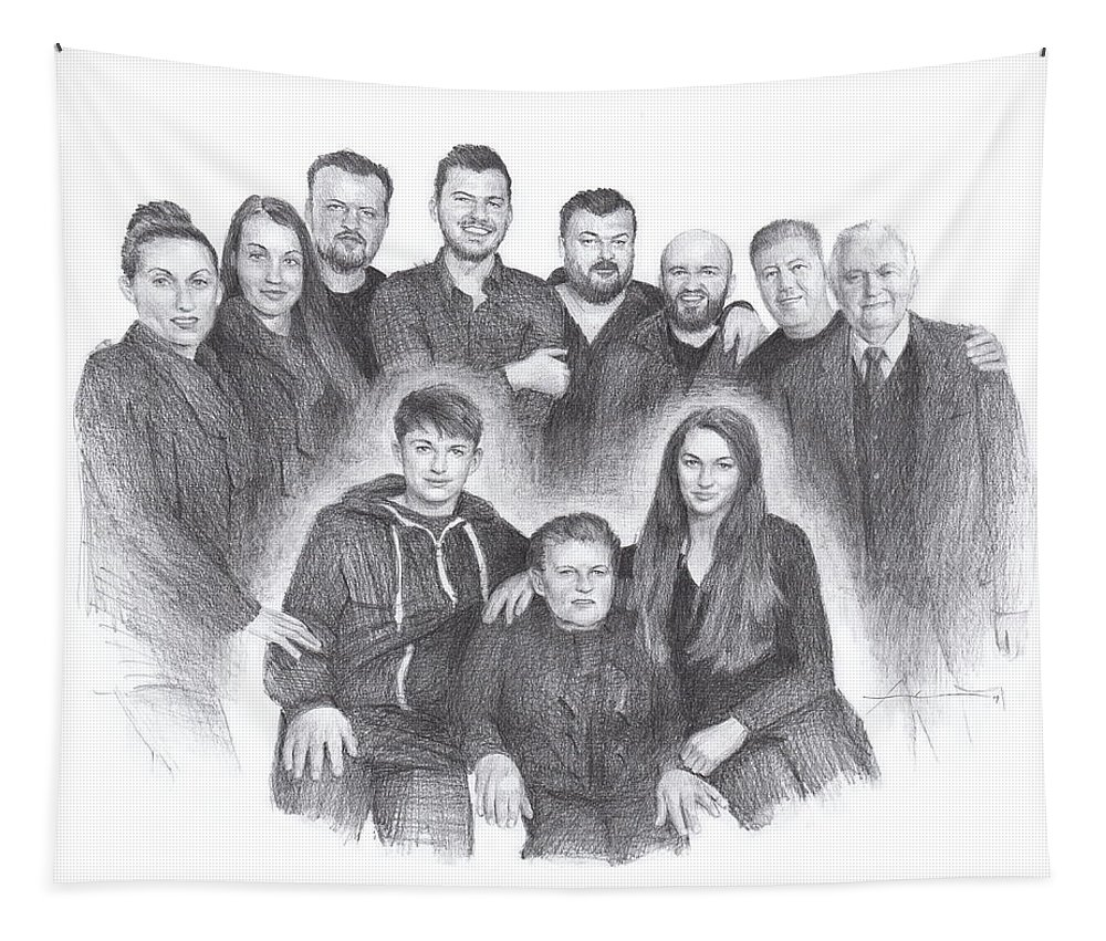 Www.miketheuer.com Family Reunion Pencil Portrait Tapestry featuring the drawing Family reunion pencil drawing by Mike Theuer