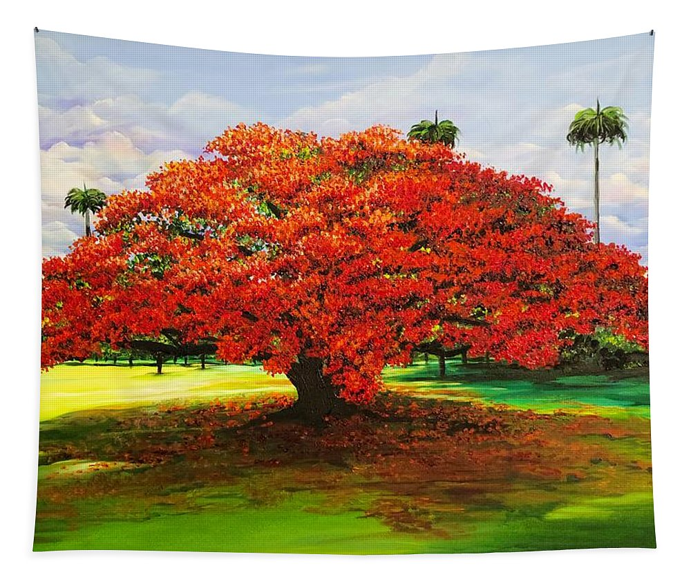 Flamboyant Tree Tapestry featuring the painting Flamboyant Ablaze by Karin Dawn Kelshall- Best