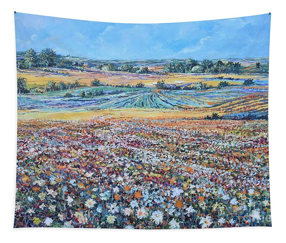 Flower Tapestry featuring the painting Flower Field by Sinisa Saratlic